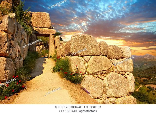 The North Postern Gate of Mycenae  1250 B C  Made from four Monolithic blocks of 'Almond Stone' in a typical form of two upright jams
