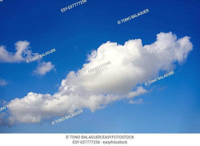 Blue sky summer white cumulus clouds background
