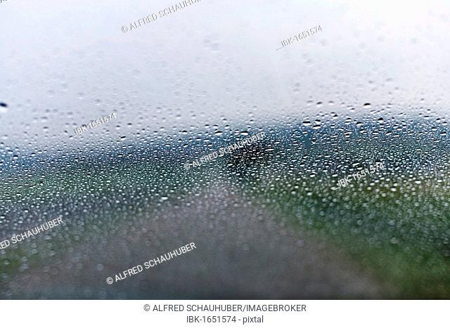 Raindrops on a car window