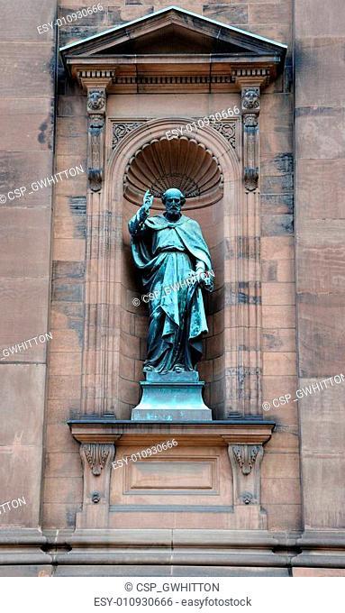 Saint Paul Statue outside historic Saint Peter and Paul Basilica in Philadelphia, Pennsylvania