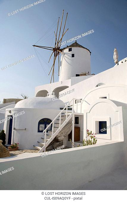 Whitewashed houses and windmill, Oia, Santorini, Cyclades, Greece