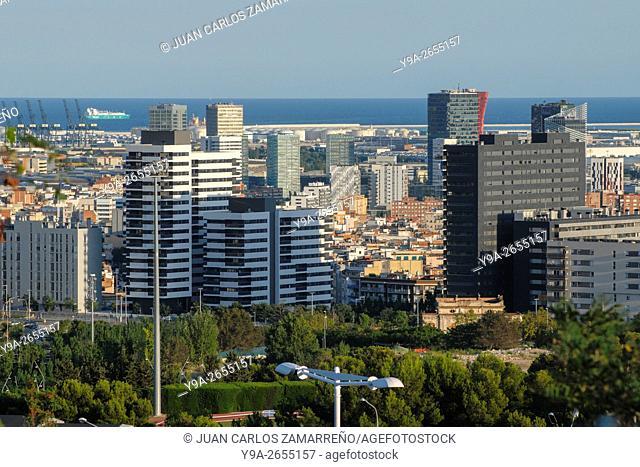 Hospitalet, Port, and partial wiew of Zona Franca, Barcelona and Mediterranean Sea, Barcelona, Catalunya, Spain