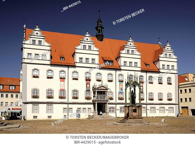 Market, Town Hall with Luther Memorial, Wittenberg, Saxony-Anhalt, Germany