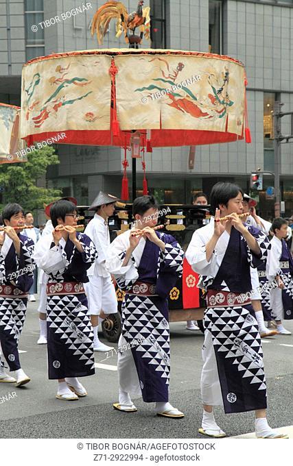 Japan, Kyoto, Gion Matsuri, festival, Yama Hoko procession, people,