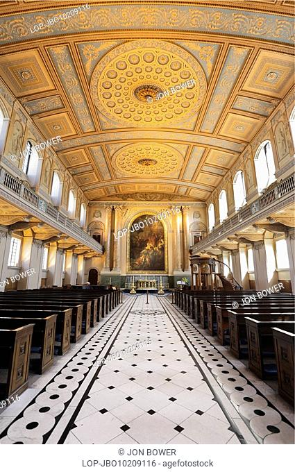 The interior of the Chapel of St Peter and St Paul at the Old Royal Naval College in Greenwich. The original chapel was destroyed in a fire in 1779 but was...