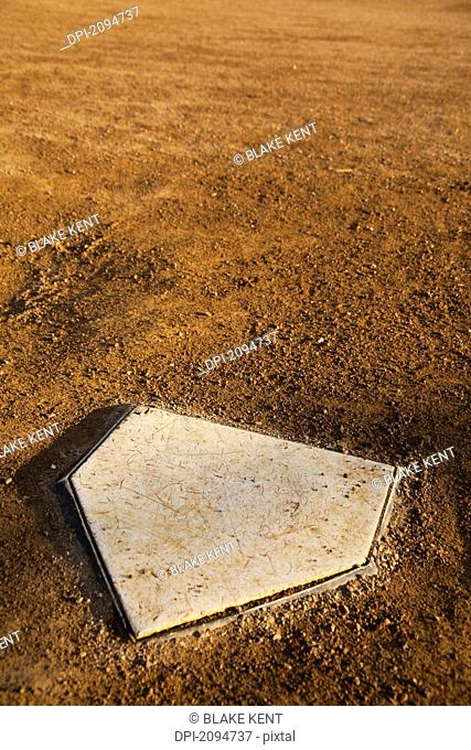 Home plate in a baseball diamond, dawson city, yukon, canada