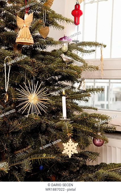 Christmas tree with ornaments, Munich, Bavaria, Germany