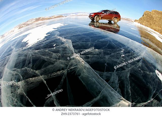 Car on frozen Lake Baikal, island Olkhon, Lake Baikal, Siberia, Russia, Eurasia