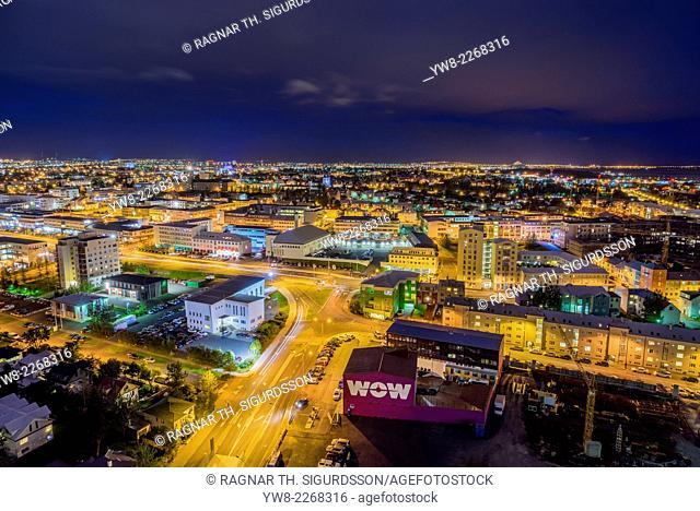 Night view of Reykjavik, Iceland