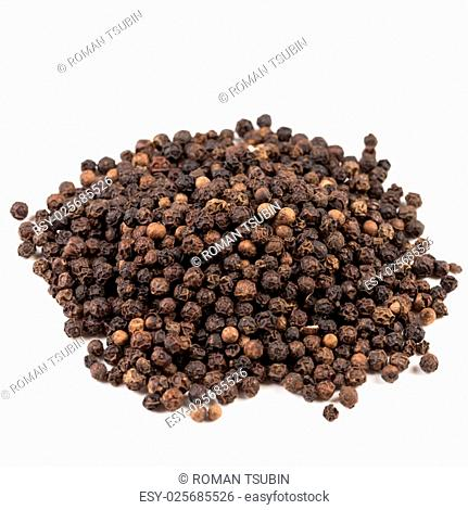 Black pepper was placed on a white background and isolated