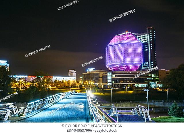 MINSK, BELARUS - SEPTEMBER 28, 2014: Building Of National Library Of Belarus In Minsk At Night Scene. Building Has 23 Floors
