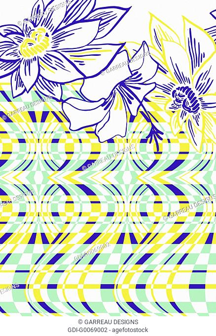 Tropical flowers and distorted line design