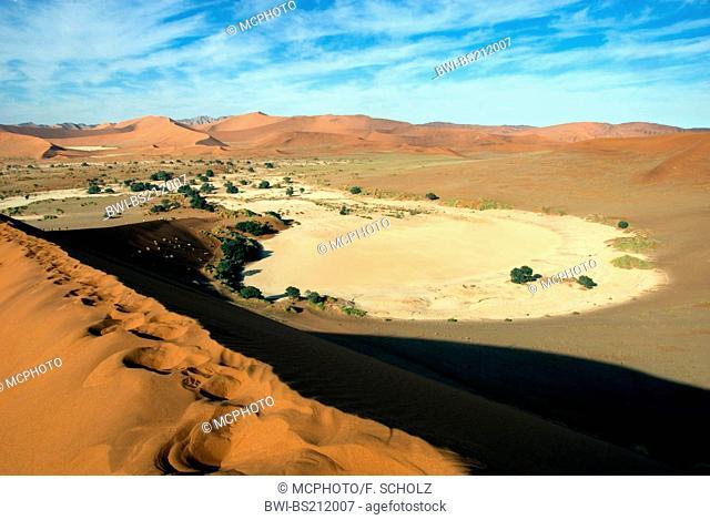 namib desert; dunes of Sossusvlei, salt deposit, Namibia