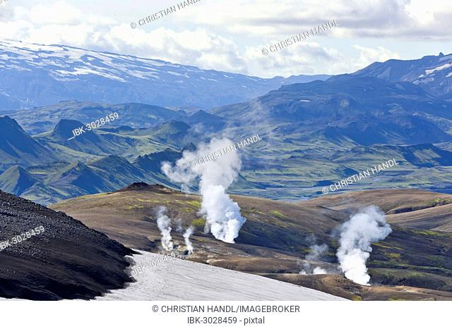 View from the Mt Hrafntinnusker or Raven Mountain across hot springs to Mýrdalsjökull galcier, Hrafntinnusker, Landmannalaugar, Iceland