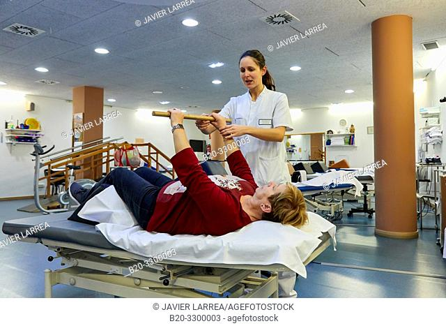 physiotherapist with patient, Rehabilitation, Amara Berri Health Center building, Donostia, San Sebastian, Gipuzkoa, Basque Country, Spain