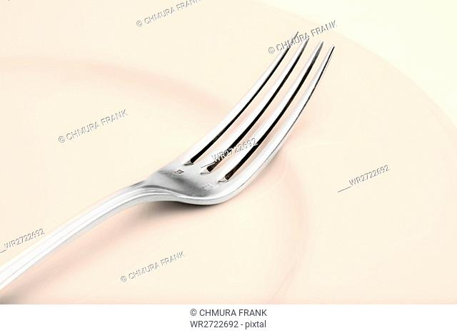 elegant table setting with silverware and plate-closeup of a fork