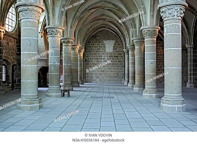 Abbey, Mont Saint-Michel, Manche department, Lower Normandy, France