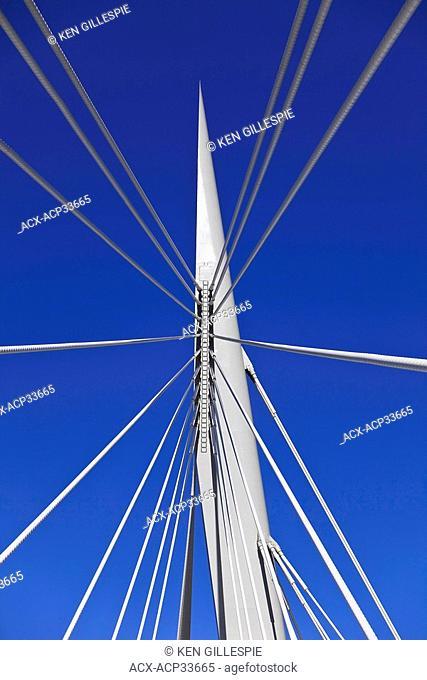 Support cables of the Esplanade Riel Bridge. A cable stay bridge in Winnipeg, Manitoba, Canada