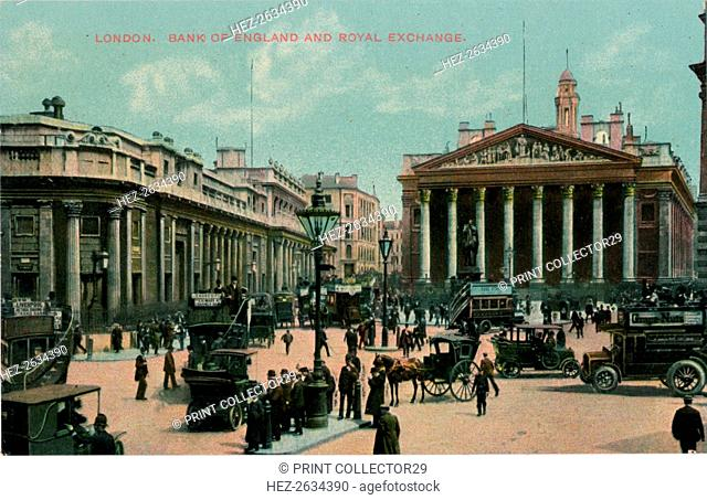 'London, Bank of England and Royal Exchange', c1910. Artist: Unknown