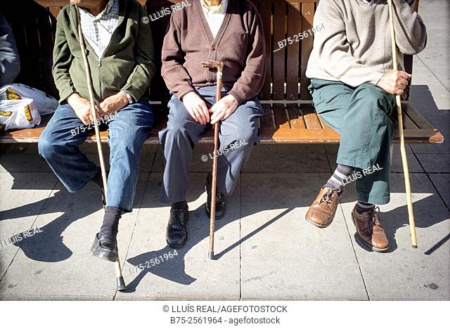 Three older men relaxed with a cane in his hands, sitting on a bench in the Plaza of Spain in Astorga, León, Camino de Santiago, España
