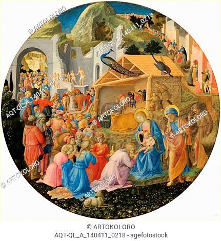 Fra Angelico and Fra Filippo Lippi, Italian (c. 1395-1455), The Adoration of the Magi, c. 1440-1460, tempera on panel