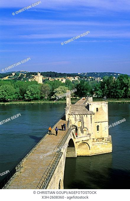 Pont Saint-Benezet, famous bridge over the Rhone River, Avignon, Vaucluse department, Provence-Alpes-Cote d'Azur region, southeastern France, Europe