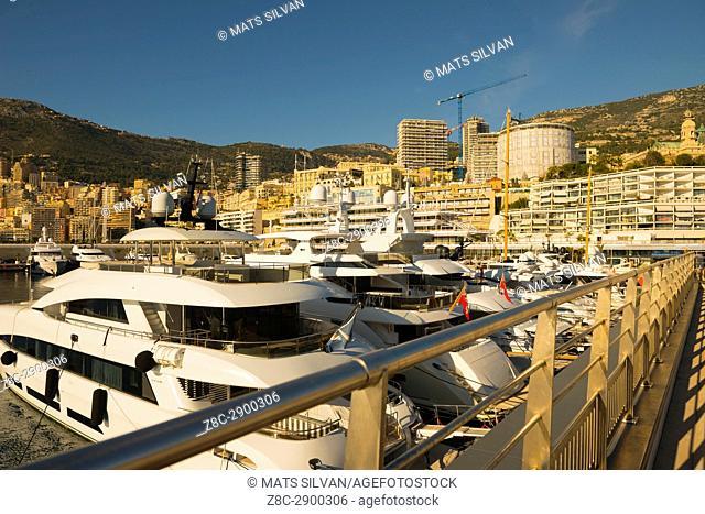 Port and Cityscape over Monte Carlo in a Sunny Day in Provence-Alpes-Côte d'Azur, Monaco