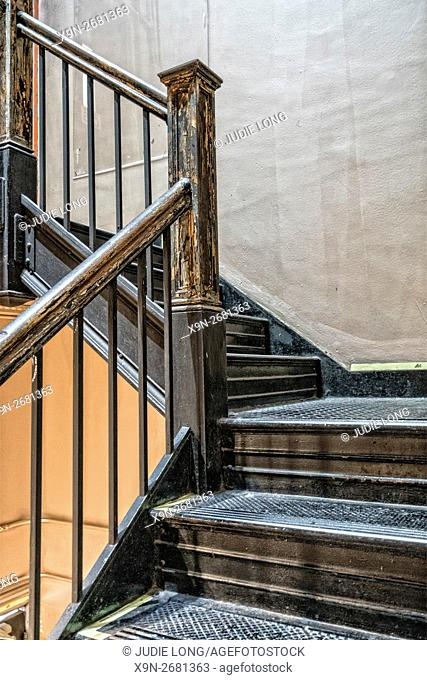 Interior Stairway in a Late 19th Century Cast Iron Building. Flatiron District of Manhattan, New York City