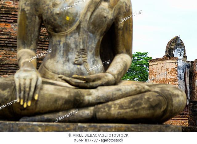 Buddha statue  Wat Mahathat  Sukhothai Historical Park  Thailand
