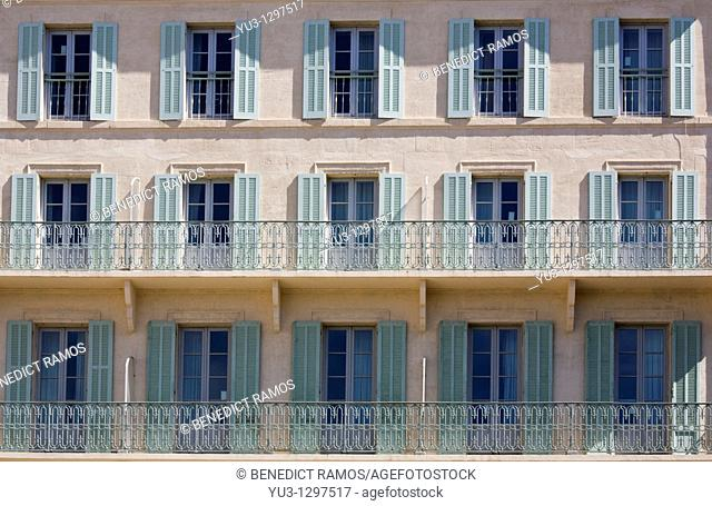Detail of building with shuttered windows, Avignon, Vaucluse, Provence, France