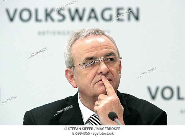 Martin Winterkorn, chief executive officer of Volkswagen AG, during the financial statement press conference on 13.03.2008 in Wolfsburg, Lower Saxony, Germany