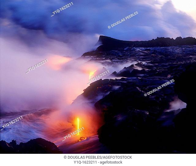 Lava flowing into Ocean, Kilauea Volcano, HVNP, Island of Hawaii