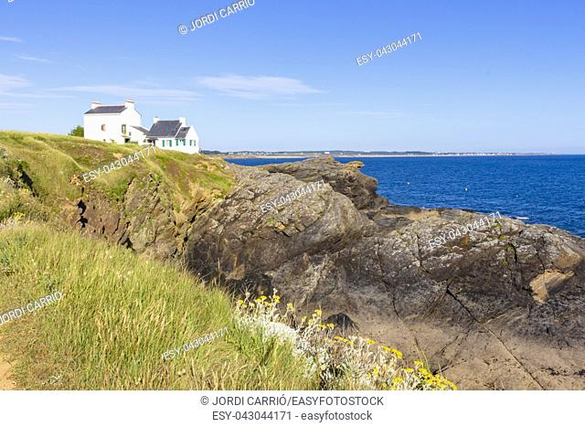 View of the cliffs of Le Pouldu, in Finistère, French Brittany
