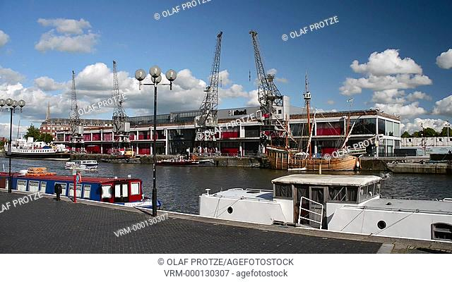View over the harbour at the Princes Wharf and M-Shed in Bristol Somerset England