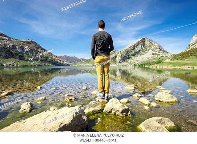 Spain, Asturias, Picos de Europa National Park, man standing at Lakes of Covadonga