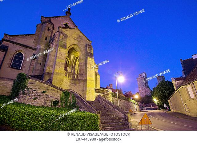 Church and Castle at night. Hérisson. Allier. France