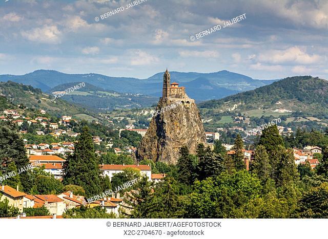 Le Puy en Velay. Saint-Michel d'Aiguilhe, church on the rock. haute Loire. Auvergne. France