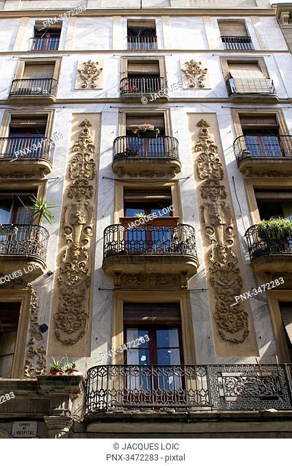 Spain, Catalonia, Barcelona, El Raval area, Carrer de l'Hospital, facade of a housing building