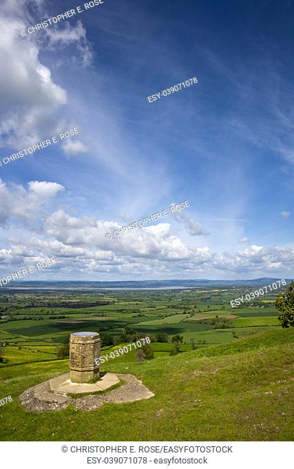 Coaley Peak viewpoint view from the edge of the Cotswold escarpment near Nympsfield, Gloucestershire, UK