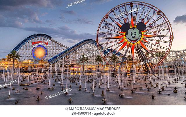 Ferris Wheel Mickey's Fun Wheel and Roller Coaster California Screamin', in front Lake Paradise Bay with water fountains, California Adventure Park