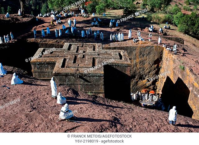 Devotees participating at a sunday mass. Bet Giyorgis church at Lalibela ( Ethiopia). They are orthodox christians