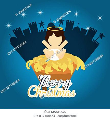 Merry Christmas concept with holy family design, vector illustration 10 eps graphic