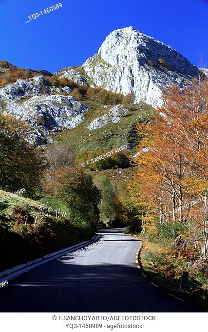 Road of Portillo de La Sía in fall, Cantabria, Spain