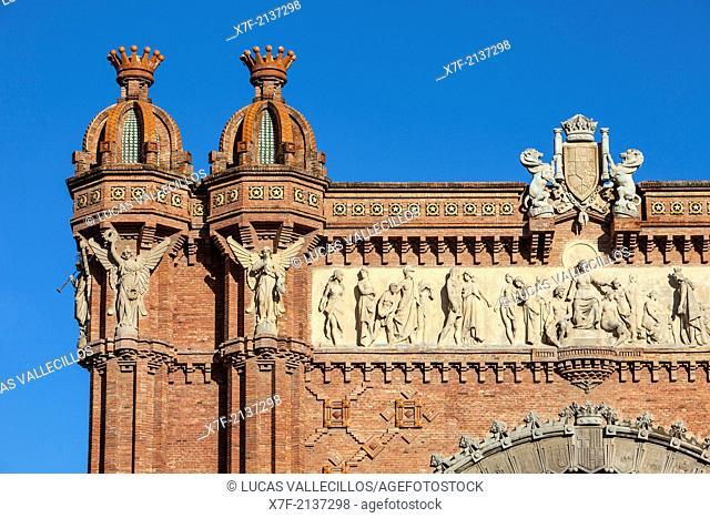 Detail of Arc de Triomf, triumphal arch,in Passeig Lluis Companys, Barcelona, Catalonia, Spain