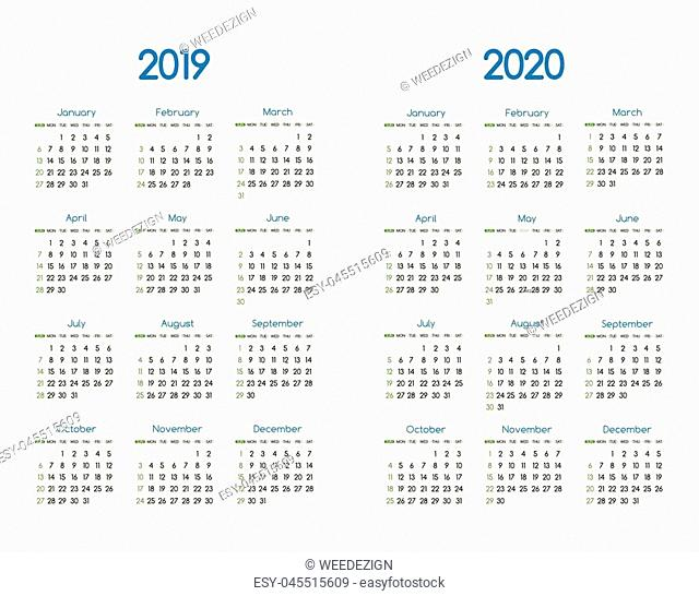 New year 2019 and 2020 vector calendar modern simple design with round san serif font,Holiday event planner,Week Starts Sunday