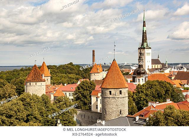 Saint Olafâ. . s Church and towers in the Old Town from Patkuli viewing platform, Toompea Hill, Tallinn, Estonia