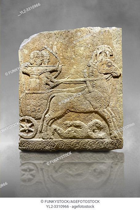 Hittite relief sculpted orthostat stone panel of Long Wall Limestone, Karkamıs, (Kargamıs), Carchemish (Karkemish), 900 - 700 B. C. Chariot