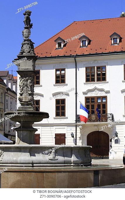 Slovakia, Bratislava, Main Square, Roland Fountain, French Embassy,