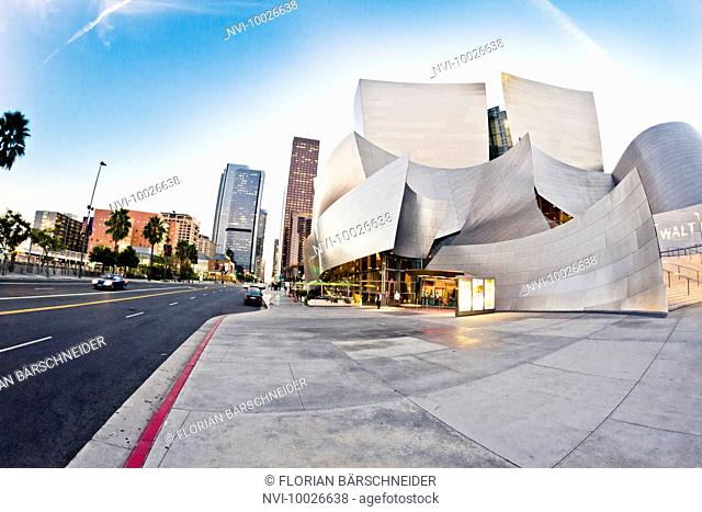 Disney Concert Hall at sunset, Los Angeles, California, USA