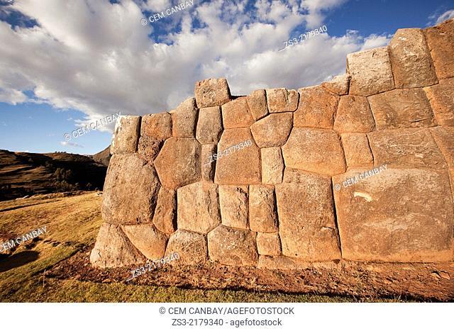 Ancient Inca walls at Chinchero Ruins, Chinchero, Valle Sagrado, Cuzco, Peru, South America